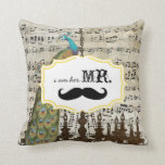 I'm Her Mr. Vintage Sheet Music Mustache Peacock Throw Pillow