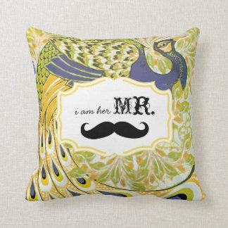 I'm Her Mr. Yellow Purple Mustache Peacock Pillow