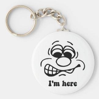 I'm here basic round button keychain