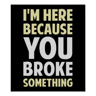 I'm Here Because You Broke Something Poster