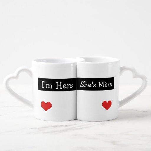 I'm Hers She's Mine Newly Wed Heart Wedding Couples' Coffee Mug Set