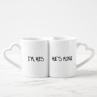 I'M HIS. HE'S MINE, HIS AND HIS GAY WEDDING GIFT COFFEE MUG SET
