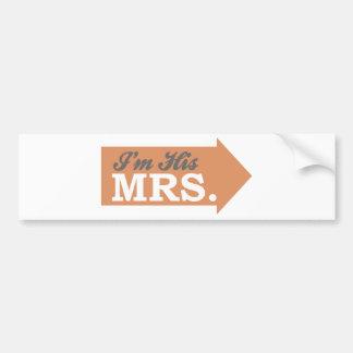 I'm His Mrs. (Orange Arrow) Bumper Stickers