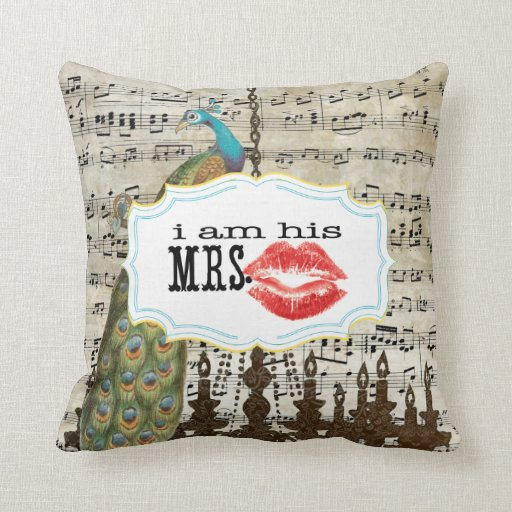 I'm His Mrs. Vintage Sheet Music Mustache Peacock Pillow