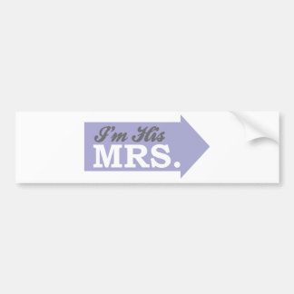 I'm His Mrs. (Violet Purple Arrow) Bumper Stickers