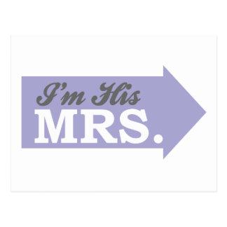 I'm His Mrs. (Violet Purple Arrow) Postcard