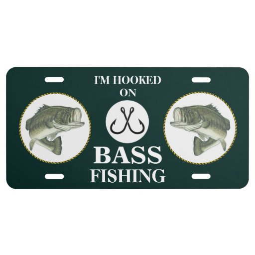 I 39 m hooked on bass fishing license plate zazzle for Az fishing license