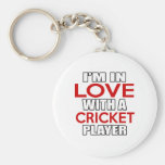 I'm in love with CRICKET Player Basic Round Button Keychain
