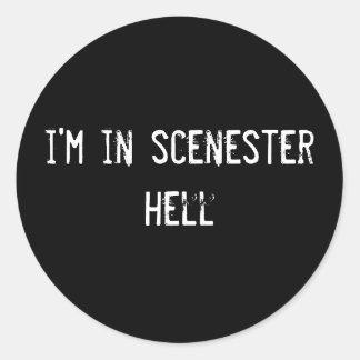 i'm in scenester hell classic round sticker