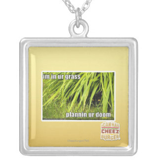 im in ur grass silver plated necklace
