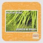 im in ur grass square stickers