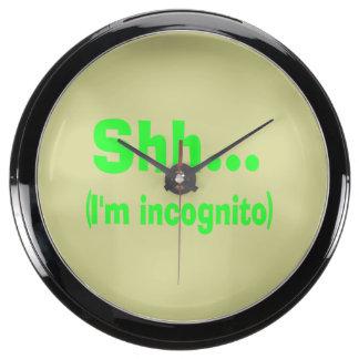I'm Incognito - Beige Background Color Aqua Clocks