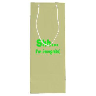 I'm Incognito - Beige Background Color Wine Gift Bag