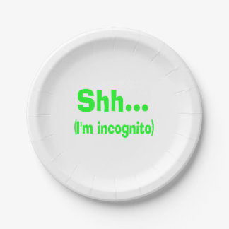 I'm Incognito - Choose Background Color 7 Inch Paper Plate
