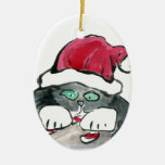I'm invisible - right says Gray Kitten Double-Sided Oval Ceramic Christmas Ornament