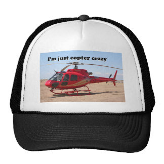 I'm just copter crazy: red helicopter trucker hat