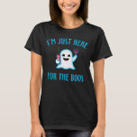 """I&#39;m Just Here For The Boos Wine T-Shirt<br><div class=""""desc"""">Cute ghost emoji holding &quot;trick or Drink&quot; bottle and a glass of wine. Funny Halloween party shirt.</div>"""