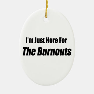 I'm Just Here For The Burnouts By Gear4gearheads Double-Sided Oval Ceramic Christmas Ornament