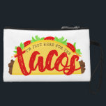 "I&#39;m Just Here For The Tacos Funny Wristlet<br><div class=""desc"">Do you love tacos? The I&#39;m Just Here For The Tacos Funny Cosmetic Bag designed by Enchantfancy Design Company features a taco along with the words,  &quot;I&#39;m Just Here For The Tacos.&quot; It makes a perfect gift for anyone who loves tacos and food puns.</div>"