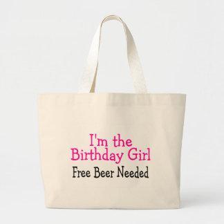 Im la cerveza libre del chica del cumpleaños neces bolsa tela grande
