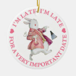 I'm Late, I'm Late, For A Very Important Date! Double-Sided Ceramic Round Christmas Ornament