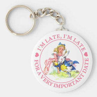 I'M LATE, I'M LATE, FOR A VERY IMPORTANT DATE! BASIC ROUND BUTTON KEYCHAIN