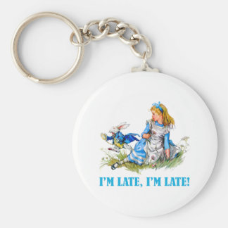 I'M LATE, I'M LATE! FOR A VERY IMPORTANT DATE! KEYCHAIN