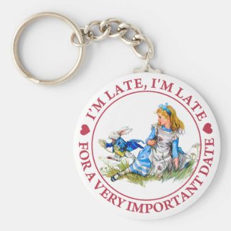 I'M LATE, I'M LATE, FOR A VERY IMPORTANT DATE KEYCHAIN