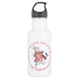 I'm Late, I'm Late, For A Very Important Date! Stainless Steel Water Bottle