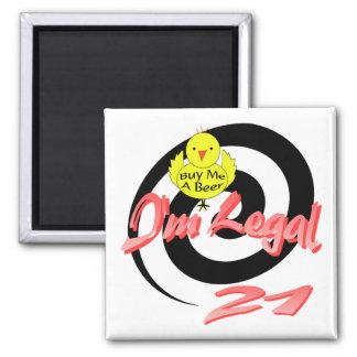 I'm Legal 21 2 Inch Square Magnet
