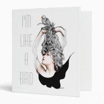 artsprojekt, original, teen, bird, beauty, female, dreamer, flying, freedom, creative, blackandwhite, portrait, nest., long hair, Binder with custom graphic design
