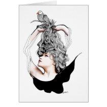 artsprojekt, original, teen, bird, beauty, female, dreamer, flying, freedom, creative, blackandwhite, portrait, nest., long hair, Card with custom graphic design