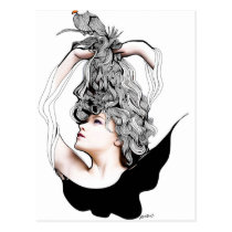 artsprojekt, original, teen, bird, beauty, female, dreamer, flying, freedom, creative, blackandwhite, portrait, nest., long hair, Postcard with custom graphic design