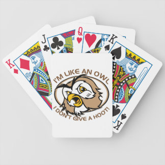 Im Like An Owl I Dont Give A Hoot Funny Saying Bicycle Playing Cards