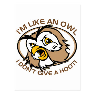 Im Like An Owl I Dont Give A Hoot Funny Saying Postcard