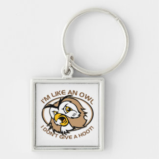 Im Like An Owl I Dont Give A Hoot Funny Saying Silver-Colored Square Keychain