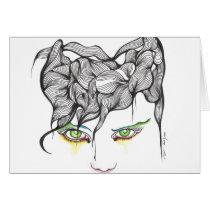 eyes, ink, girl, woman, feelings, portrait, blackandwhite, original, artsprojekt, drawing, green eyes, Card with custom graphic design