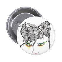 eyes, ink, girl, woman, feelings, portrait, blackandwhite, original, artsprojekt, drawing, green eyes, Button with custom graphic design