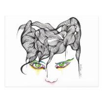 eyes, ink, girl, woman, feelings, portrait, blackandwhite, original, artsprojekt, drawing, green eyes, Postcard with custom graphic design