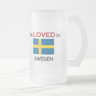 I'm Loved In SWEDEN Frosted Glass Beer Mug