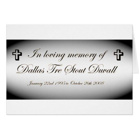 im memory of dallas tre stout duvall card