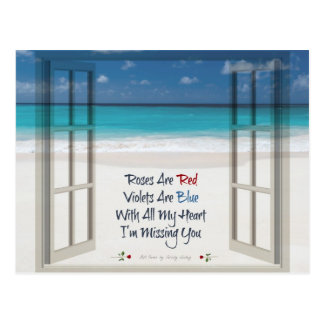 I'm Missing You Poem: Beach and Open Window Postcard