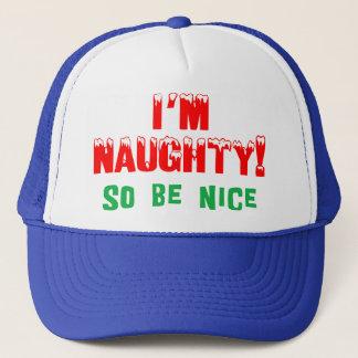 I'm Naughty So Be Nice Christmas Trucker Hat