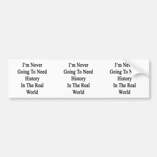 I'm Never Going To Need History In The Real World. Car Bumper Sticker