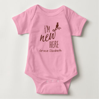 """""""I'm New Here"""" / Bird on Branch - Choose own color Baby Bodysuit"""