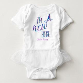 """I'm New Here"" / Bird on Branch - Watercolor Baby Bodysuit"