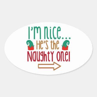 Im Nice Hes Naughty Elf Hat Oval Sticker