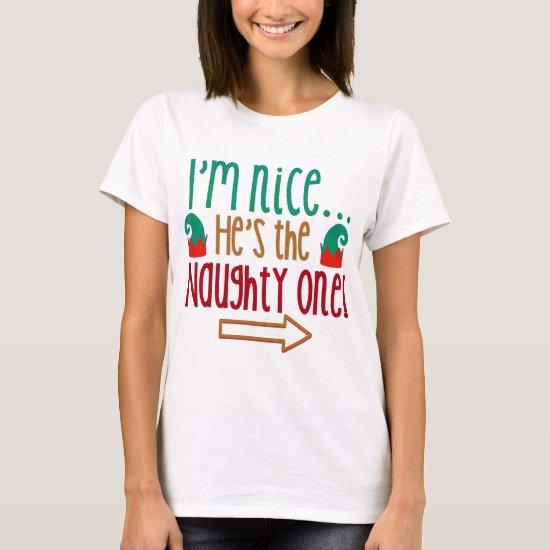 Im Nice Hes Naughty Elf Hat T-Shirt