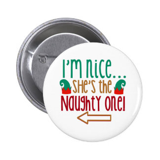 Im Nice Shes Naughty Elf Hat Button