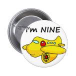 I'm Nine, Yellow Plane Pinback Buttons